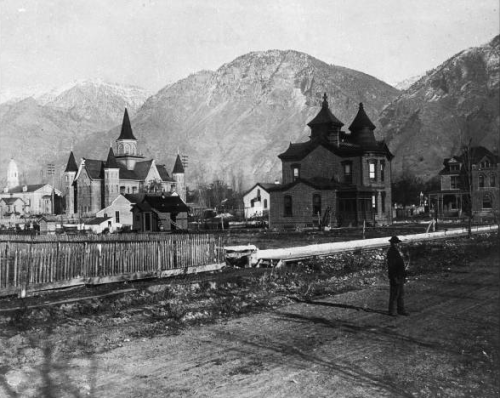 A view of the Provo Tabernacle from downtown, ca. 1900, L. Tom Perry Special Collections, BYU.