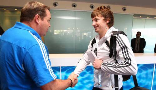r-u-g-b-y-b-o-y-s:  Beauden Barrett gets the welcome from Steve Hansen into the All Blacks training camp. He looks so excited!