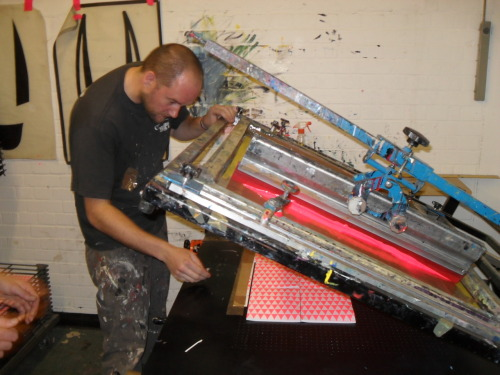 Screen printing of the Word to Mother Zines that were launched on the night of the Word To Mother exhibition at stolen space gallery, london, 2010