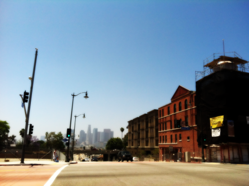LA skyline from the east. Boyle Heights, Los Angeles.