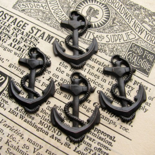 Brass Anchor Charms.