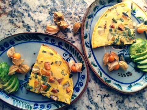 Pear, yam, fennel and caped gooseberry frittata #morningaffair