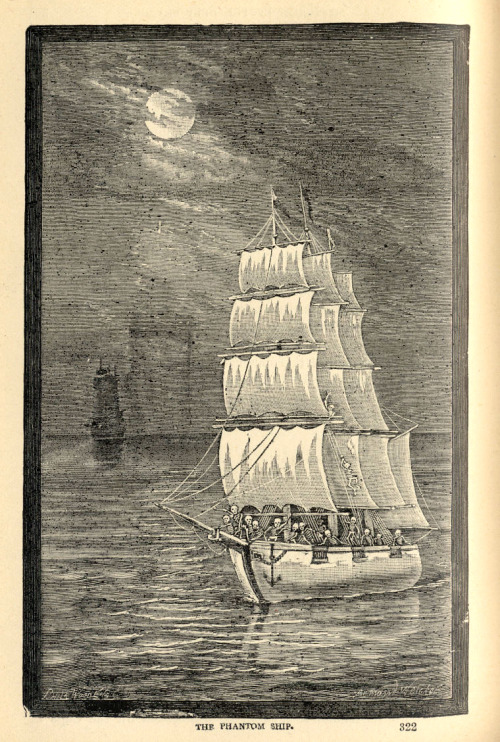 "willigula:  ""The Phantom Ship"" - illustration from from Sea and Land: An Illustrated History by JW Buel, 1887"