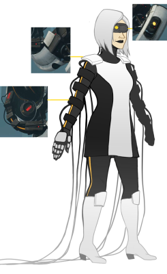 GLaDOS gijinka that I keep revising, I'll be happy with the design eventually. I'm pretty set on the upper parts, not really set on the boots and all the wires…This is just a really quick bland doodle…. :1 might delete later
