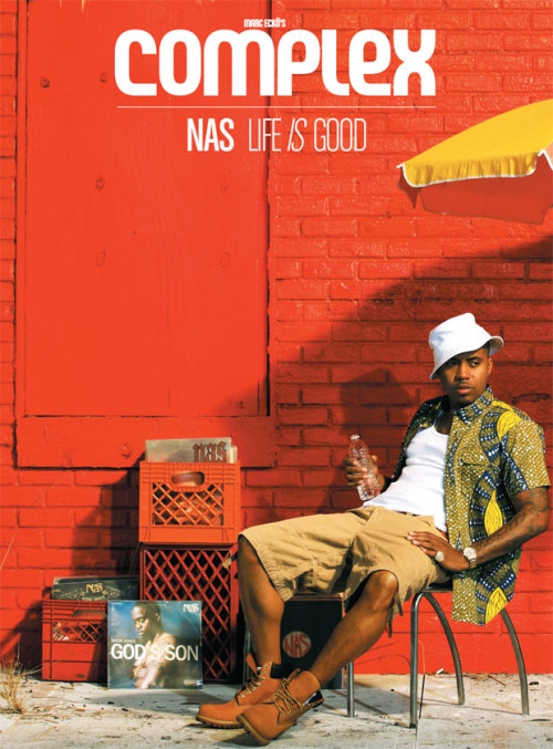 Nas covers Complex Magazine, July 2012 styled in Woolrich Woolen Mills Cotton Printed Shirt ($195)