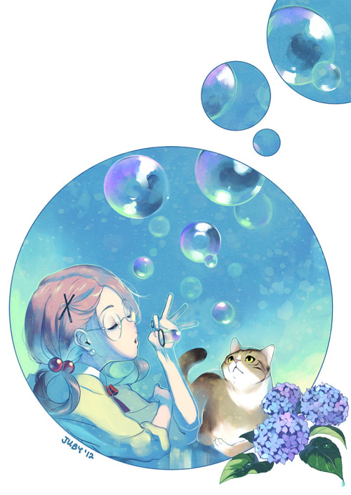 thechromaticscale:  Bubbles I didn't know what to draw, so I started drawing a lot of circles, and this happened. A simple one for the artbook. :D Gratuitous cat yay