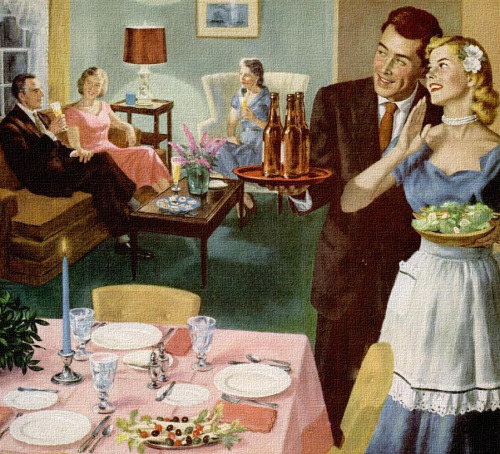 theniftyfifties:  'The Bride's First Dinner Party', artwork by Ray Prohaska. 1952.