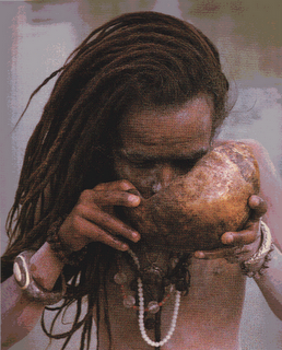 "An Aghori drinking water using a human skull. In Indian tradition Aghoris are expected to keep company of the ghosts and reside in the Shamshans which is where the dead bodies are burnt. The Aghoris distinguish themselves from other Hindu sects and priests by their alcoholic and cannibalistic rituals. The corpses, which may be either pulled from a river (such as the Ganges) or obtained from cremation grounds, are consumed both raw and cooked on open flame, as the Aghoris believe that what others consider a ""dead man"" is, in fact, nothing but natural matter devoid of the life force it once contained. Therefore while for ordinary people cannibalism may be seen as primitive, barbaric and unclean, for Aghoris it is both a spiritual resource and a subversion of taboos. In the Aghori view, nothing is profane nor separate from God, who is hailed to be all and in all. In fact, the Aghoris see it as a scientific approach in trying to discover how matter converts from one form to another."