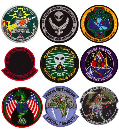 These are 100% real United States government mission patches. Even secret black operations patches can be made available to the public through the freedom of information act. Trevor Paglen has created an astounding book in which he deciphers possible meanings to these often frightening patches. Here is a great article where Mr. Paglen analyzes most of the ones shown here: • http://cabinetmagazine.org/issues/24/paglen.php • http://vigilantcitizen.com/vigilantreport/top-10-most-sinister-psyops-mission-patches/