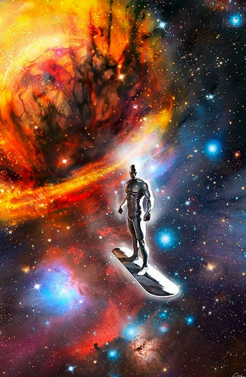 "The Silver Surfer-Regret by Carsten Biernat ""After destroying one of the largest planets known in the entire universe, the Surfer realizes his unforgivable mistake of losing his temper.  His heart starts to fill with deep regret and he makes a fatal decision to change the things he has done…"""