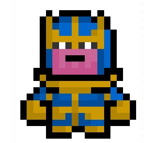 Thanos the Mad Titan, superpowered worshipper of Death and major entity within the Marvel Universe, now derezzed to a teeny tiny 18 x 20 pixel resolution.  I'm calling it now:  The Avengers sequel is going to be AWESOME.