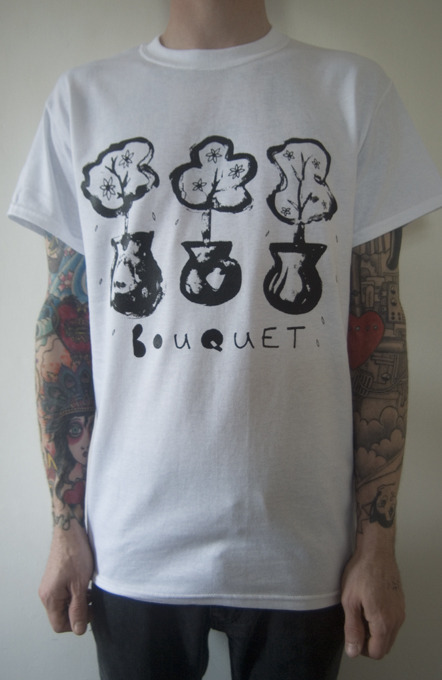Bouquet - One colour, black print on white shirts. Design by Ben Thompson (Nai Harvest) Available here!