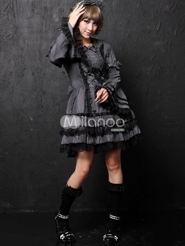 Silver Punk Layered Cotton Blend Lolita Dress from annanism.tumblr.com