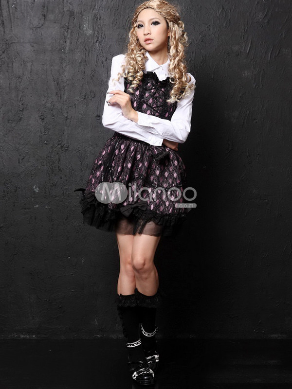 Pink Red Long Sleeves Cotton Blend Lolita Dress