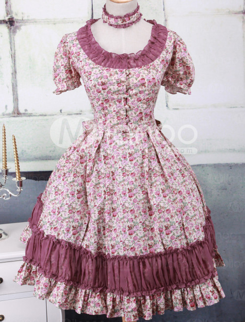 annanism:  Classic Multi-Color Short Sleeves Cotton Womens Lolita Dress