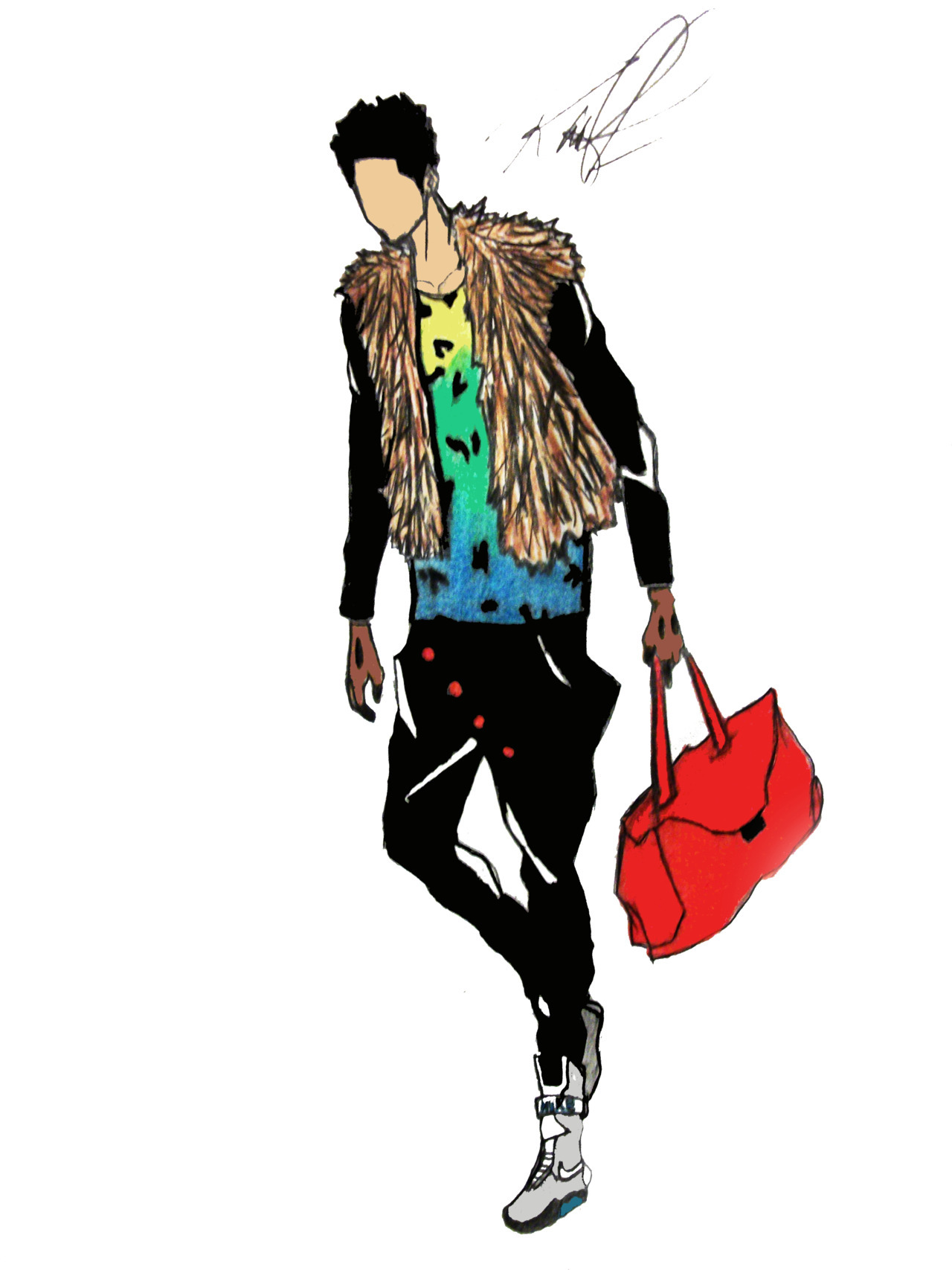 "raatfashion:  #New Sketch: ""On the run"". Sketch by: http://raatfashion.tumblr.com/ Check out my blog for more fashion sketches."