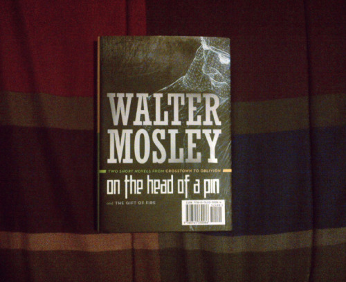 Started and finished reading On The Head of a Pin by Walter Mosley today on the drive back home. I had zero expectations for this short novel and I was pleasantly surprised by how overwhelmingly thoughtful and amazing it was. The story was quite simple but it introduced some really interesting and intriguing themes that constantly made me think and re-think certain things. I love when a book manages to do that, that's when you know you're reading something special/good. And the protagonist is easily one of the most endearing and relatable I've read in a while. I highly recommend it! I'll start reading the other short novel later today perhaps.