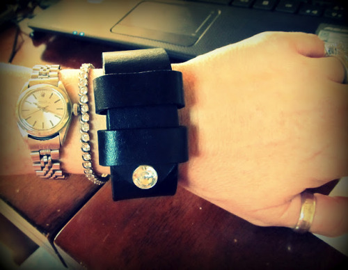 DIY Belt to Leather Cuff with Rhinestone Closure Tutorial. I have mentioned before (lots) that one of the tools I own is a leather hole punch (cheap and I use it a lot). Tutorial from Wobisobi here.
