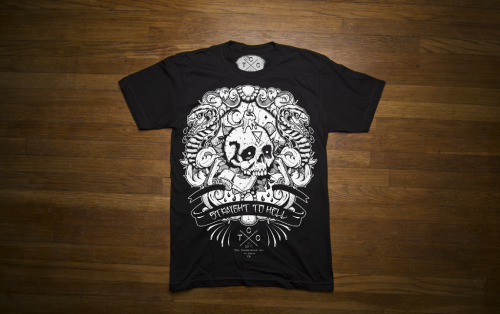thecondolenceco:  For our 1 year anniversary we revamped our first shirt ever. So go check out our Straight to Hell (mkII) design. It's now available in our webstore!