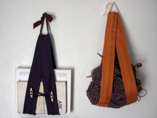 Stylish storage slings. The possibilities are endless!I'm thinking recycled denim and felted wool.