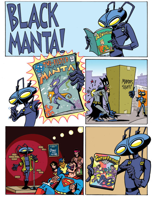 Black Manta comic drawn by @RyanDunlavey for Wizard magazine