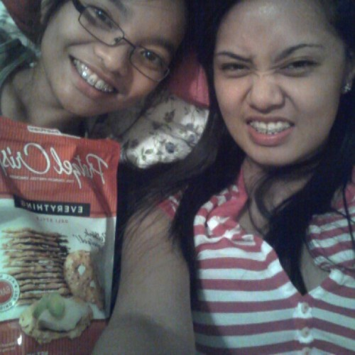 Laying in bed, eating some #pretzelcrisps. Yum! #sister #pink #lazy #nomakeup #snack Ohh, and BTW. 4:) (Taken with instagram)