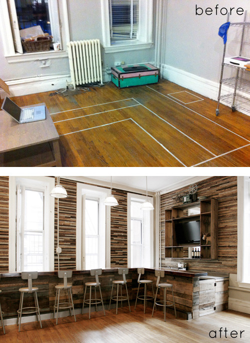 Take a look at this outrageous (in a good way) Before/After from DesignSponge. This transformation is absolutely jaw dropping and only cost the couple $6,000 - which, when you look at the change, is pretty amazing. Shows what you can do with a little elbow grease! - Team Forrage