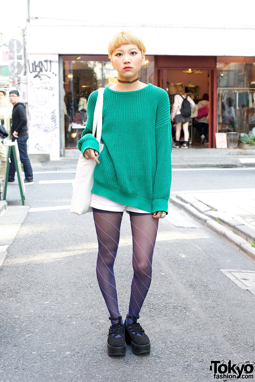 An Cafe fan wearing American Apparel sweater & Tokyo Bopper platforms in Harajuku.