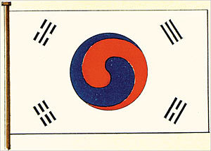 "The flag of South Korea, or Taegeukgi (also spelled Taegukgi in convention) has three parts: a white background; a red and blue taegeuk in the center; and four black trigrams, one in each corner of the flag. These trigrams are carried over from the eight trigrams (Pal Gwae), which are of Chinese origin.           The general design of the flag also derives from traditional use of the tricolour symbol (red, blue and yellow) by Koreans starting from the early era of Korean history. The white background symbolizes ""cleanliness of the people"". The Taegeuk represents the origin of all things in the universe; holding the two principles of yin and yang in perfect balance; the former being the negative aspect rendered in blue, and the latter as the positive aspect rendered in red. Together, they represent a continuous movement within infinity, the two merging as one."