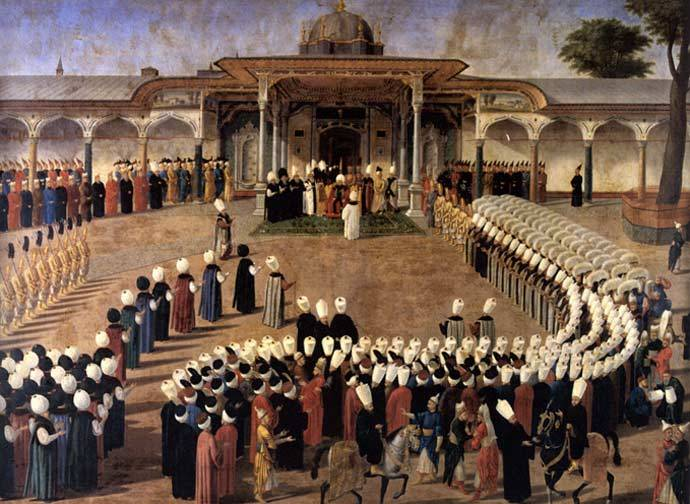 Sultan Selim III holding an audience in front of the Gate of Felicity. Topkapı Sarayı Müzesi, Istanbul. c. 1789-1807