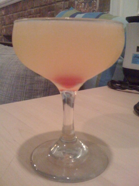 After Dinner Happy Hour: The Corpse Reviver #2 1 oz gin 1 oz Cointreau (I did half and half with triple sec and orange curacao) 1 oz Lillet Blanc 1 oz lemon juice 2-3 drops of absinthe Shake with ice, strain into a cocktail glass and garnish with a stemless cherry. With a name like the Corpse Reviver, I expected this cocktail to really hit me over the head. But the flavor is subtle and very smooth. Orange comes to the forefront, propped up by a refreshing herbal gin and a hint of the absinthe. This is a perfect summer drink! Since the Corpse Reviver is so refreshing and quaff-able, I am a little afraid that the power hinted at in the name lies instead in this drink's ability to get you drunk fast. Will have to take my time with this one. Good night!