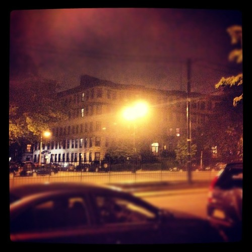 Brighton creepiness on a foggy night #boston #brighton #massachusetts #iphone #nighttime #fog #instagram (Taken with instagram)