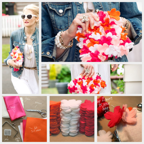 "truebluemeandyou:  DIY Fun Felt Flower Clutch Tutorial. I initially looked at this and said, ""Oh no, sewing all those flowers on?"" But you glue them on and if you don't want to make the clutch from scratch you could buy a cheap one. Tutorial from Trinkets in Bloom here."