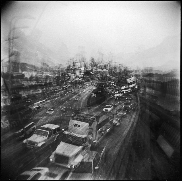 Stampede on Flickr.Holga 120N | Ilford FP4+ | XTOL (1:1) | Post in Topaz Adjust The long march home.