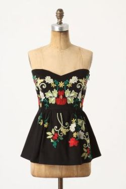 """Midnight Blooms"" corset top, by Two of Us via Anthropologie. Size 4. New with tags. I would totally keep this if I wasn't running into a lot of random debt right now, haha. In fact, I'll probably pull this one off of my sale tumblr if I can ride this month's bills out, so snatch it up while you can!! It has great reviews, and the embroidery is just too darling! Originally $150. $87 shipped"