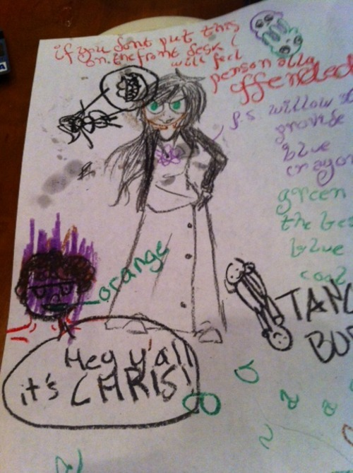 blueatom:  today i went to a restaurant and they gave me crayons kevin drew chris and i drew jade