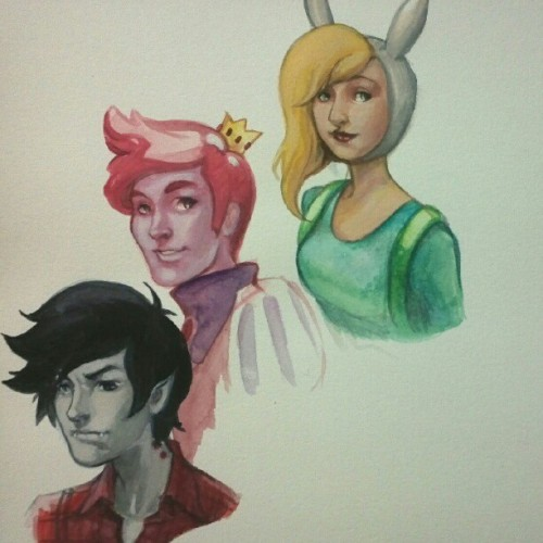 Adventure time fan art. Freehanded with turner watercolours and gouche.  (Taken with instagram)