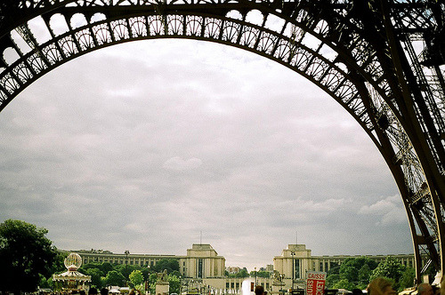 Travel picture we're loving today - this shot of Paris from a cool perspective underneath the Eiffel Tower.
