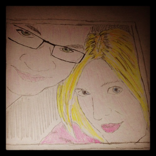 My latest sketch in coloured pencil. This is taken from a photo of Tris & I on my birthday.