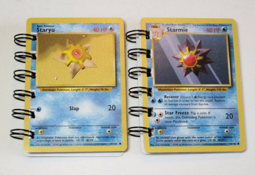 This is 2 Pokemon Trading Cards Recycled into mini notebooks.