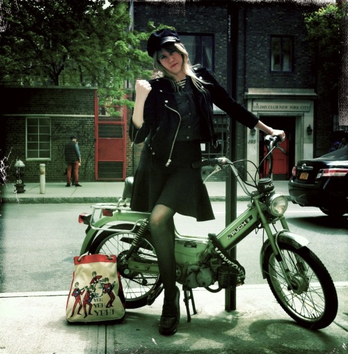 tennessee thomas in her lady biker gear, soho, new york.