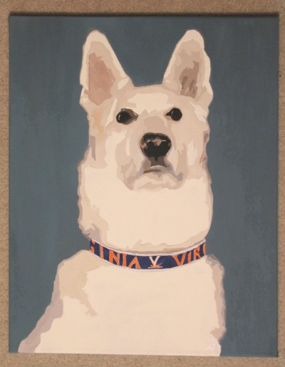 "Bo // 16x20"" acrylic on canvasA commissioned portrait of a white German Shepherd, for a wedding gift."