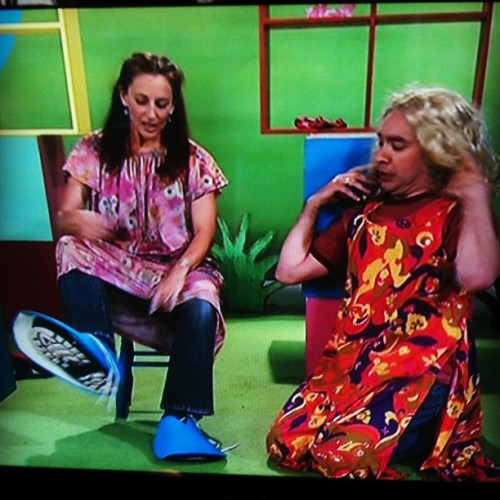 Da fuck playschool? But of cross dressing and giant shoes. Aight then. o.o (Taken with instagram)