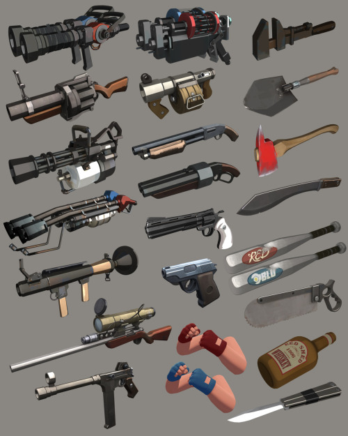 idrawtf2:  Standard HI RES items from the TF2 kit  원래 이것들이 이렇게 섹시했었나