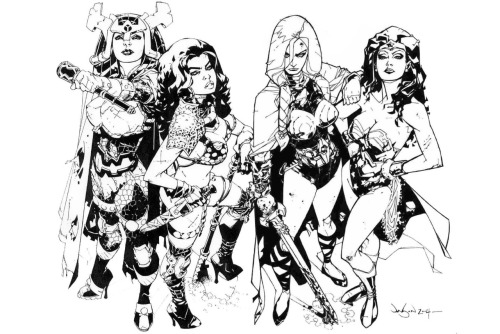 thatdjspider:  batmanthedisgrace:  Wonder Woman, Red Sonja, Big Barda, & Valkyrie by Jason Pearson  lurve