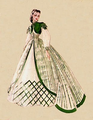 original sketch by walter plunkett of the honeymoon at tara dress. so gorgeous.