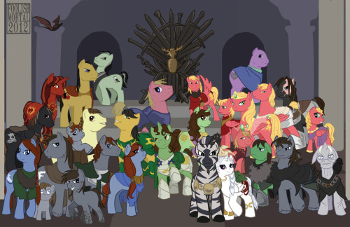 fool-errant:  Laying this final piece out was fairly difficult with everypony hating every other pony (Lannisters and Starks aren't friends, nobody trusts Varys, Littlefinger HAS no side, and Stannis is mad at everyone). I think I got it sorted, so here we are, all of the Thronies and the Iron Throne. I might do more folks later, but for purposes of printing and this con season this is the lot. There will probably also be some omakes (extras-outtakes for those non otaku) later, since I did start building up silly little head canon about these folks.  For more details you can look at these links: Maester Aemon and the Watch Renly Baratheon and Loras Tyrell Margaery Tyrell Varys Samwell Tarly Littlefinger The Hound Dany and Drogo Team Dragonstone Brienne of Tarth The Starks The Lannisters