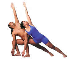 Triangle (Trikanasana) Improves every muscle, joint, tendon & internal organ in the body Revitilizes nerves, veins, & tissues Helps cure lumbago & rheumatism of the lower spine by flexing & strengthening the last five vertebrae, & improves crooked spines Most important pose to increase the strength & flexibility of the hip joint & of the muscles of the side of the torso. Also firms upper thighs & hips, trims the waistline & improves the deltoid, trapezius, scapula & latissimus muscles