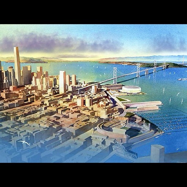 Rendering of new proposed #stadium for #NBA Golden State #Warriors in #SanFrancisco on Piers 30-32 near #BayBridge (Taken with instagram)