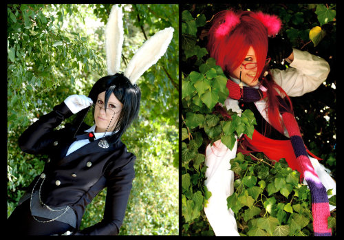 Look at these cosplayers all dressed up as Grell and Sebastian from the Ciel in Wonderland OVAs,  Black Rabbit, Lecherous Cat by *NanjoKoji. Credit goes to imaginarytomodachi for the find!